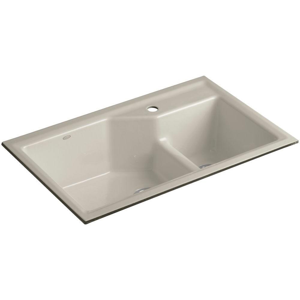 KOHLER Indio Smart Divide Undermount Cast Iron 33 in. 1-Hole Double Bowl Kitchen Sink Kit in Sandbar