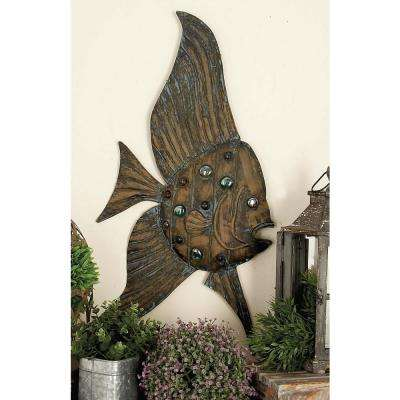 Large: 36 in; Medium: 26 in; Small: 19 in. Coastal Inspired Bronze-Finished Iron Fish Wall Decor
