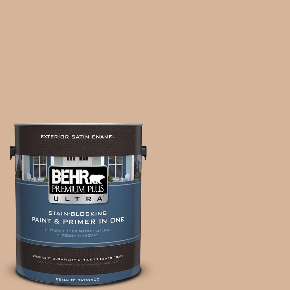 BEHR Premium Plus Ultra 1-gal. #ECC-40-1 Canewood Satin Enamel Exterior Paint
