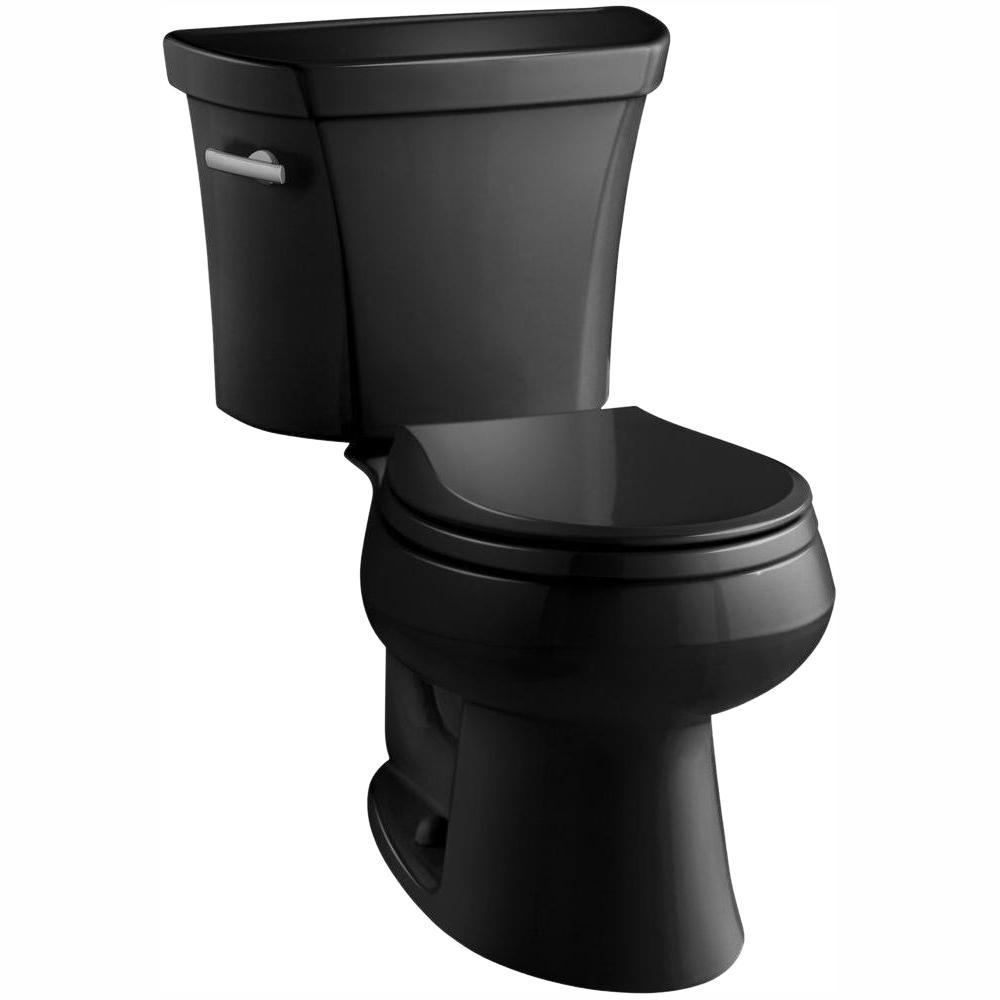 Wellworth 2-piece 1.28 GPF Single Flush Round Toilet in Black Black