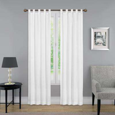 63 in. L Light Filtering White Poly/Cotton Tab Top Curtain Panel (1-Pair)