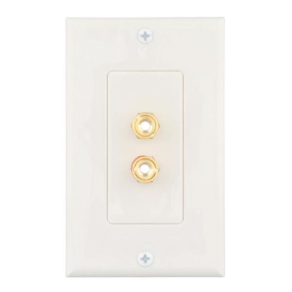 Commercial Electric White 2 Gang Audio Wall Plate 1 Pack 2 Banana Wh The Home Depot