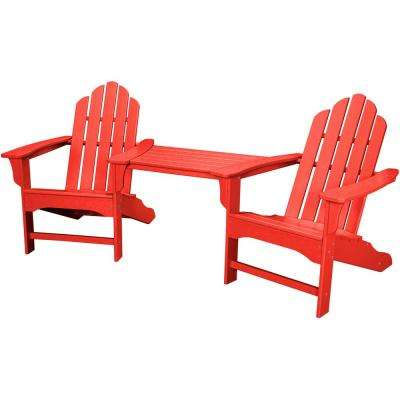Rio Sunset Red 3 Piece All Weather Plastic Patio Lounge Adirondack Chair Set