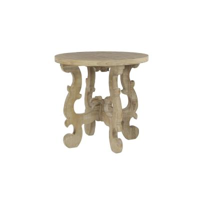 Litton Lane Brown Round Reclaimed Wood End Table