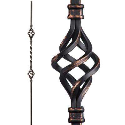 Twist and Basket 44 in. x 0.5 in. Oil Rubbed Copper Double Basket Solid Wrought Iron Baluster