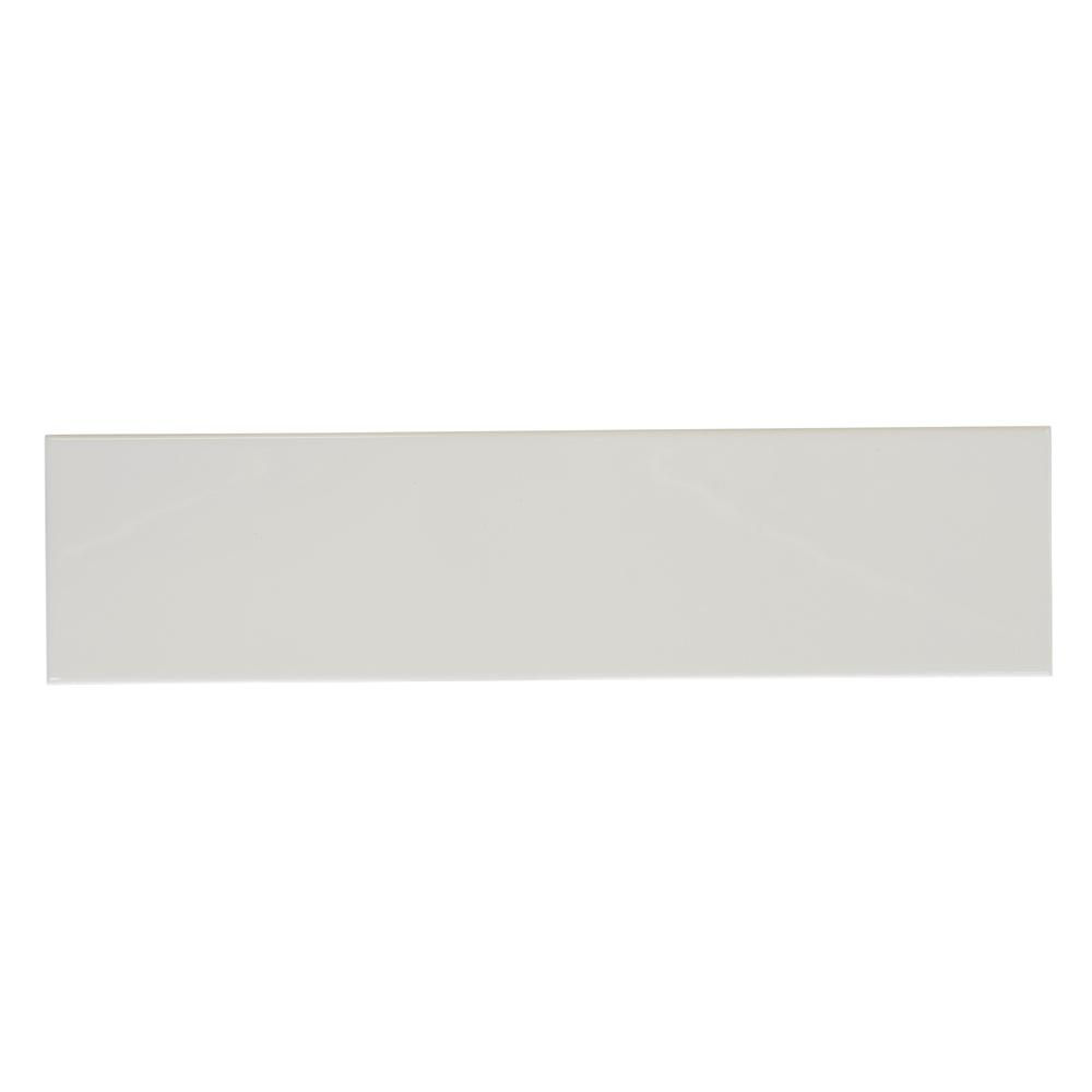 Allegro White Gloss 4 in. x 16 in. Ceramic Wall Tile