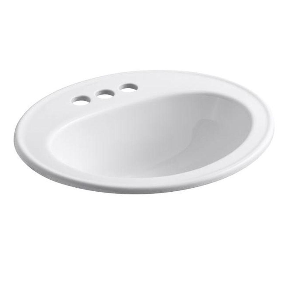 Pennington Top-Mount Vitreous China Bathroom Sink in White with Overflow Drain