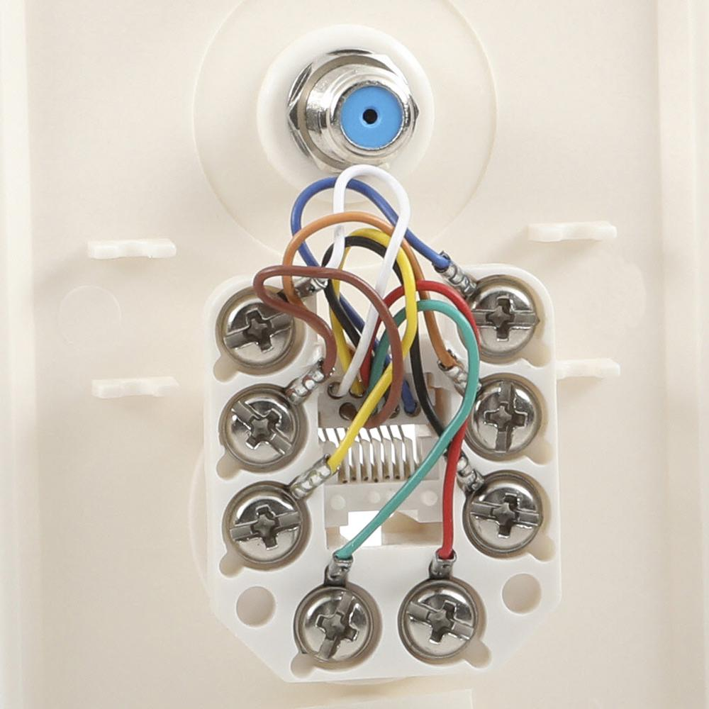 Commercial Electric Network And Coax Wall Plate 217f 8c Wh The Home Depot