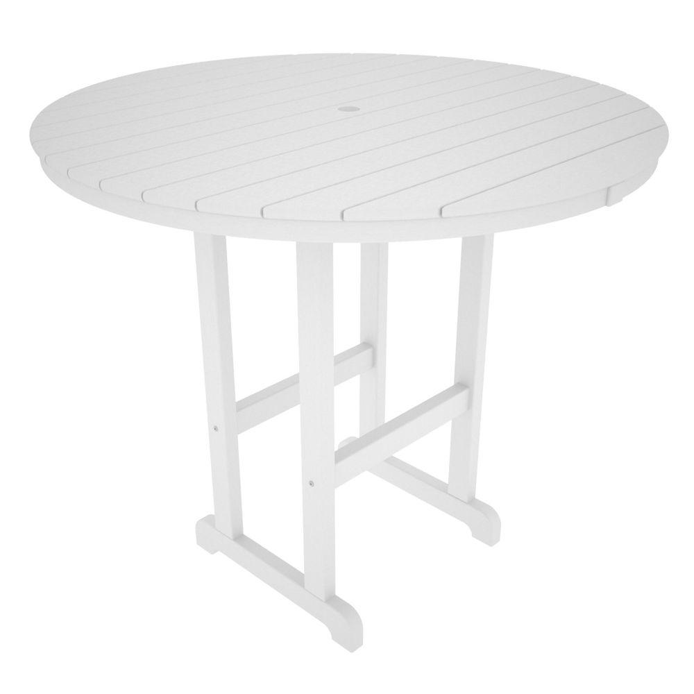 La Casa Cafe White 48 in. Round Plastic Outdoor Patio Bar
