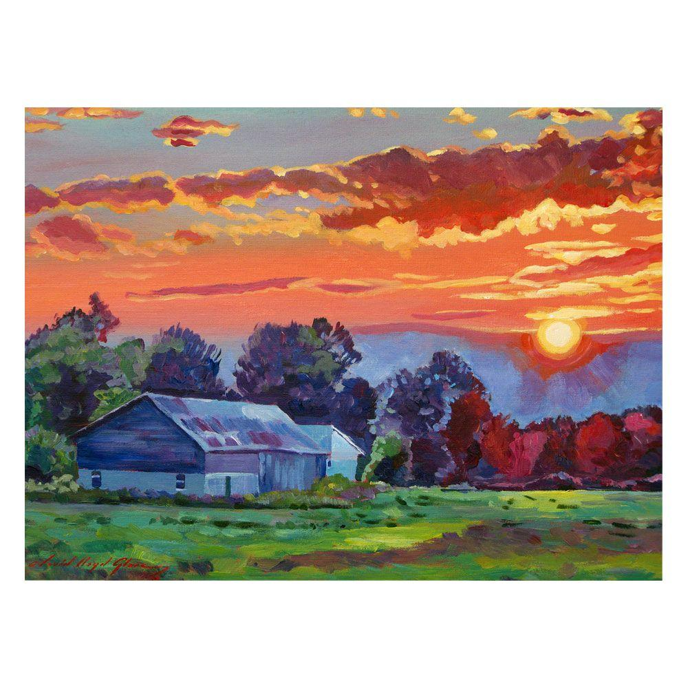 24 in. x 32 in. The Sun Sets Over The Hill