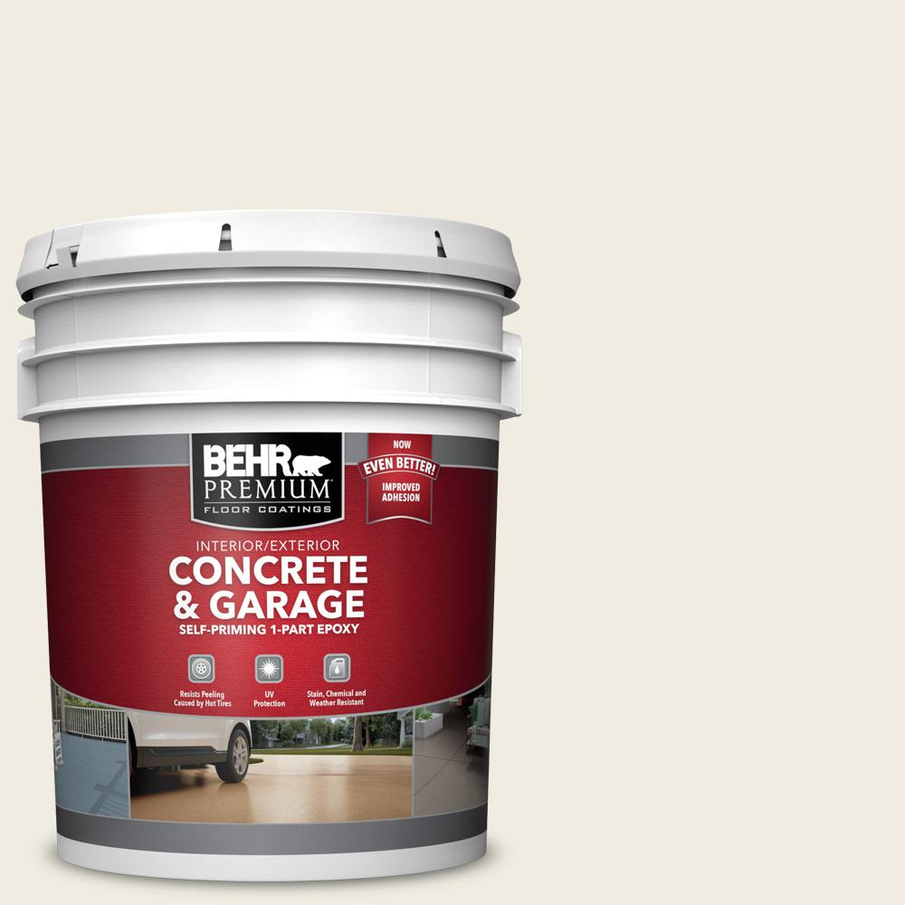BEHR PREMIUM 5 gal. #12 Swiss Coffee Self-Priming 1-Part Epoxy Satin Interior/Exterior Concrete and Garage Floor Paint