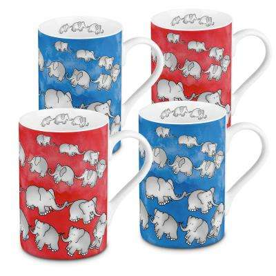 Konitz 4-Piece Assorted Chain of Elephants Red and Blue Porcelain Mug Set