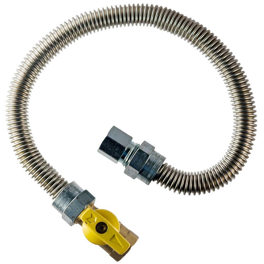 3/8 in. FIP x 1/2 in. FIP Gas Valve x 24 in. Dryer Connector 1/2 in. O.D.