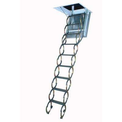 LSF 9 ft. 10 in., 25 in. x 47 in. Fire Rated Insulated Steel Scissor Attic Ladder with 350 lb. Load Capacity Not Rated