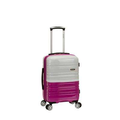 2Tone White/Pink 20 in. Expandable Hardside Spinner Carry on Suitcase