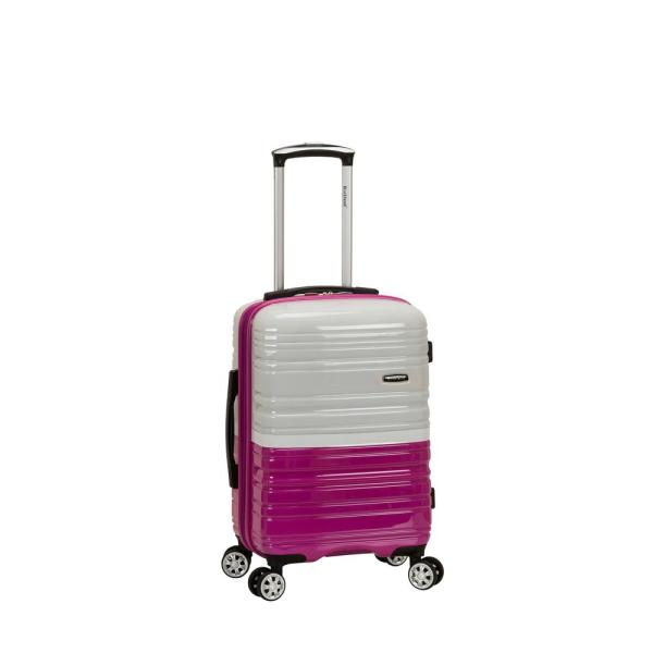 Rockland 2Tone White/Pink 20 in. Expandable Hardside Spinner Carry on Suitcase