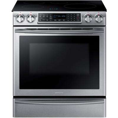 '5.8 cu. ft. Slide-In Induction Range with Virtual Flame Technology in Stainless Steel' from the web at 'https://images.homedepot-static.com/productImages/7bd32e46-3a70-428b-a2c2-d9eaf6dec5f4/svn/stainless-samsung-single-oven-electric-ranges-ne58k9560ws-64_400_compressed.jpg'
