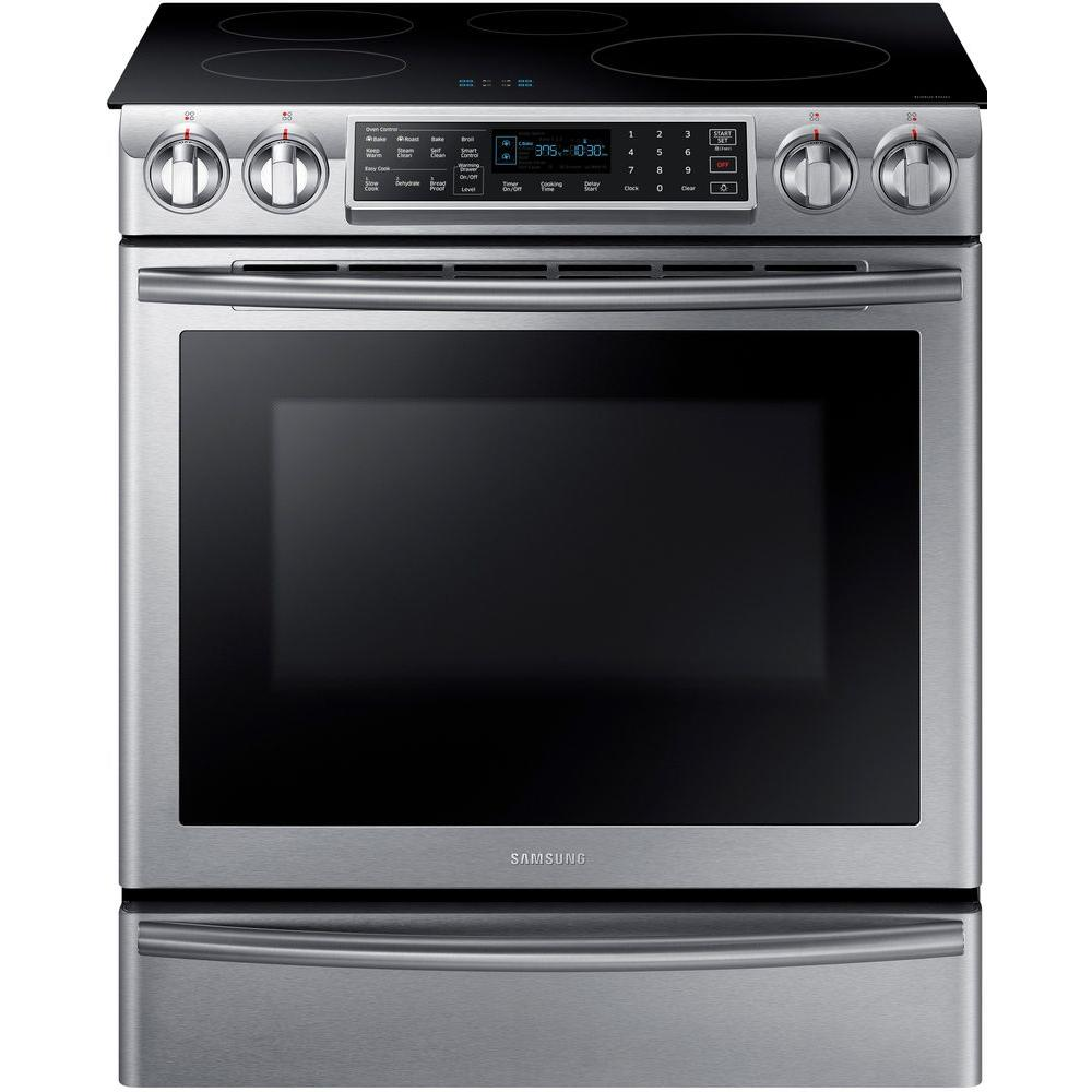 Samsung 5.8 cu. ft. Slide-In Induction Range with Virtual Flame Technology in Stainless Steel