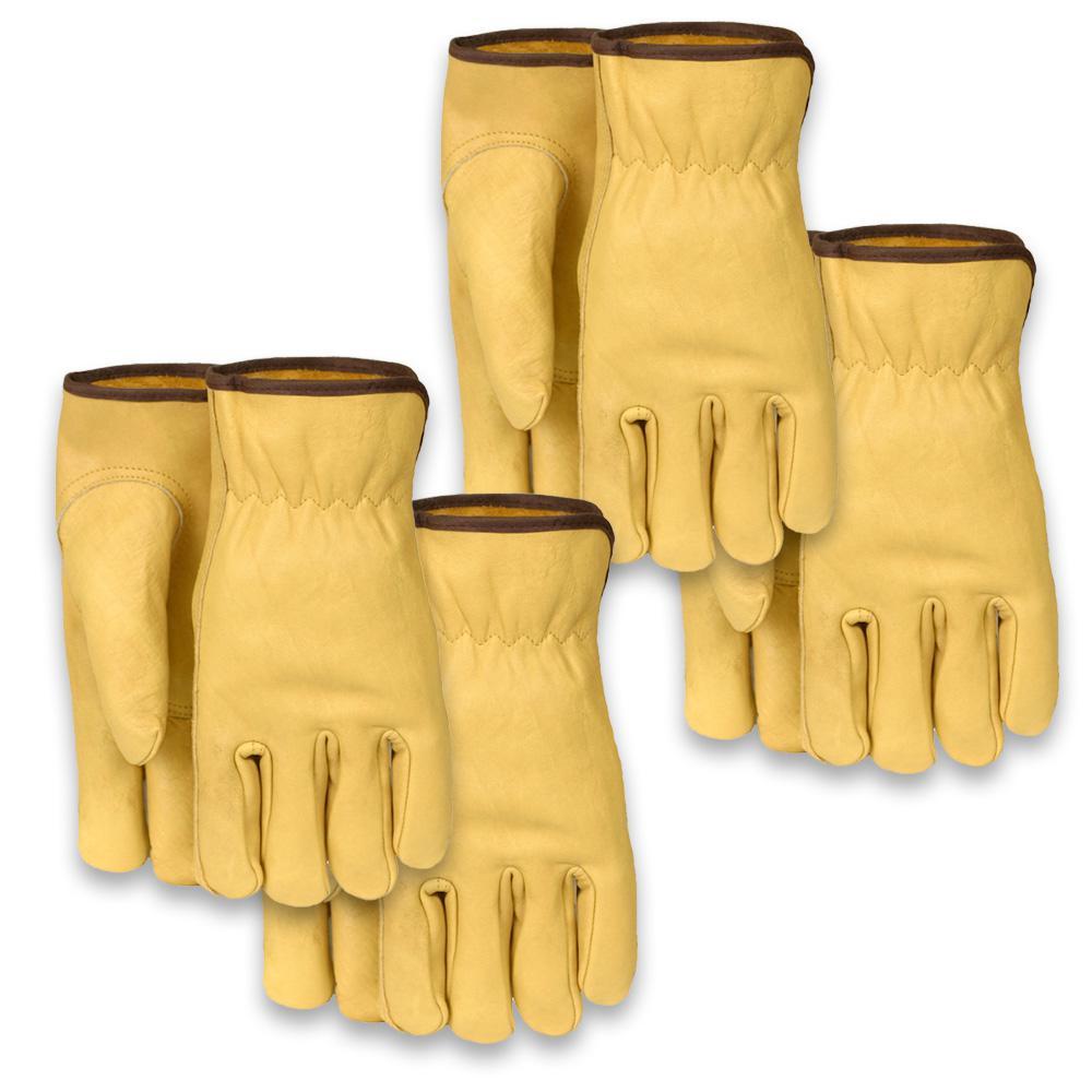 Midwest Gloves & Gear Men's Medium, Leather Work Glove (4-Pack)