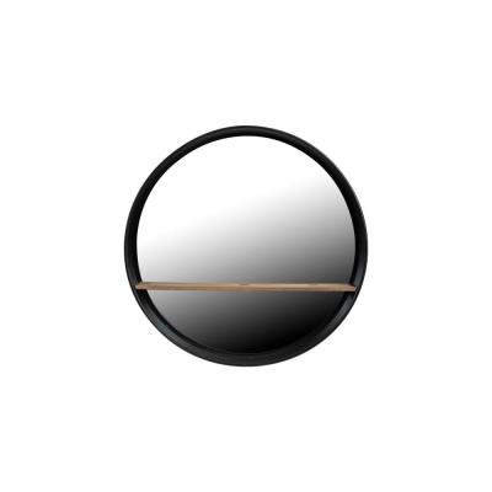 Medium Round Black Shelves & Drawers Mirror (24 in. H x 24 in. W)