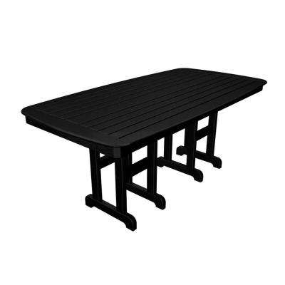 Nautical 37 in. x 72 in. Black Plastic Outdoor Patio Dining Table