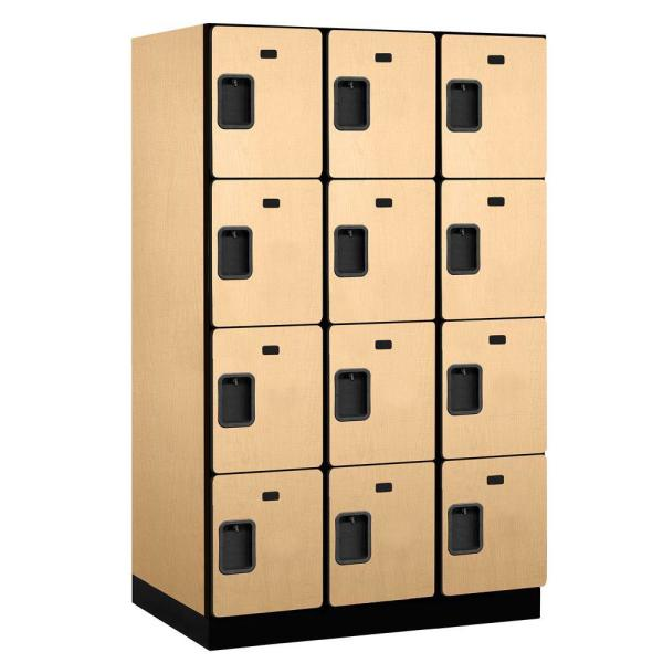 24000 Series 4-Tier 24 in. D 12-Compartments Extra Wide Designer Particle Board Locker in Maple