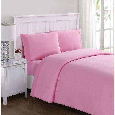Everyday Solid Jersey Pink Twin Sheet Set
