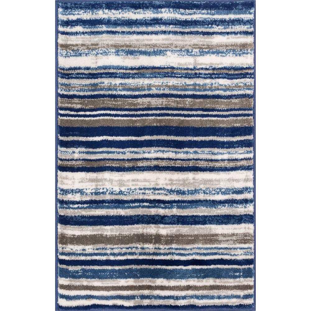Well Woven New Age Signature Stripes Blue 2 Ft X 4 Modern Boho