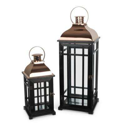 Black Nested Metal and Wood Lantern (Set of 2)