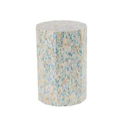 Multi-Colored Round Faceted Accent Table