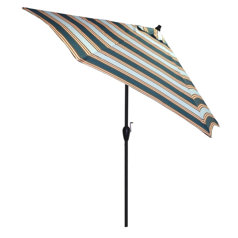 Delightful 9 Ft. Aluminum Market Tilt Patio Umbrella In Charleston Stripe