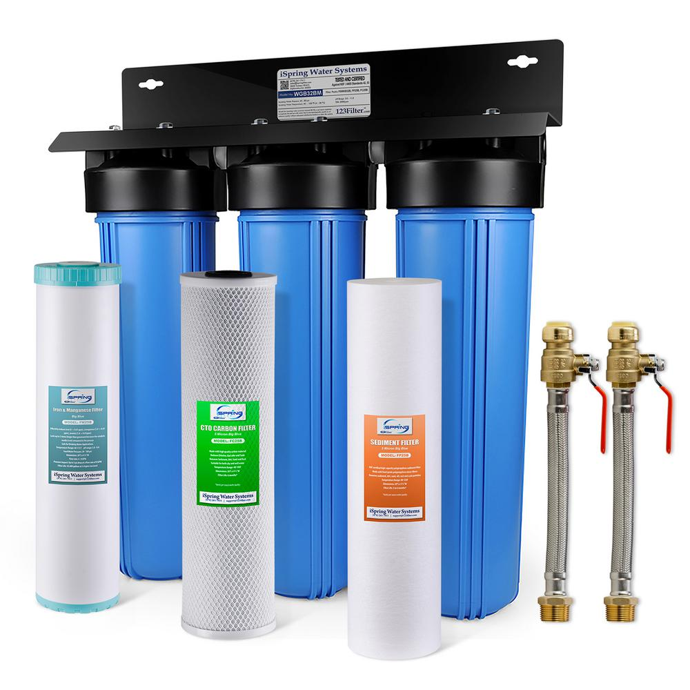 ISPRING 3-Stage Whole House Water Filtration System w/ Iron & Manganese  Reducing Filter w/ 3/4 in  Push-Fit Hose Connectors
