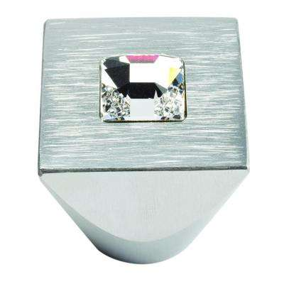 Crystal Collection 1 in. Crystal And Brushed Aluminum Square Cabinet Knob