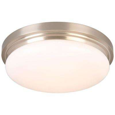 15 in. 225-Watt Equivalent Brushed Nickel Integrated LED Flush Mount with Frosted Glass Shade