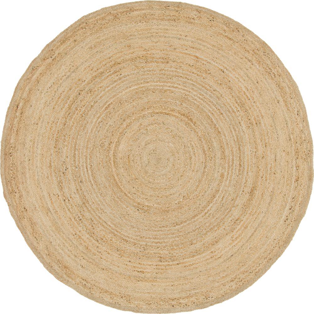 Braided Jute Dhaka Natural 8' 0 x 8' 0 Round Rug
