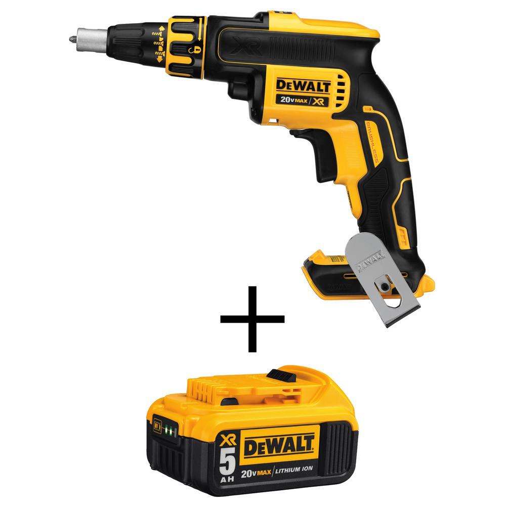 DEWALT 20-Volt MAX XR Lithium-Ion Cordless Brushless Drywall Screw Gun (Tool-Only) with Free 20-Volt MAX Li-Ion Battery 5 Ah