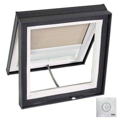 22.5 in. x 22.5 in. Solar Powered Venting Curb-Mount Skylight, Laminated LowE3 Glass, Classic Sand Light Filtering Blind
