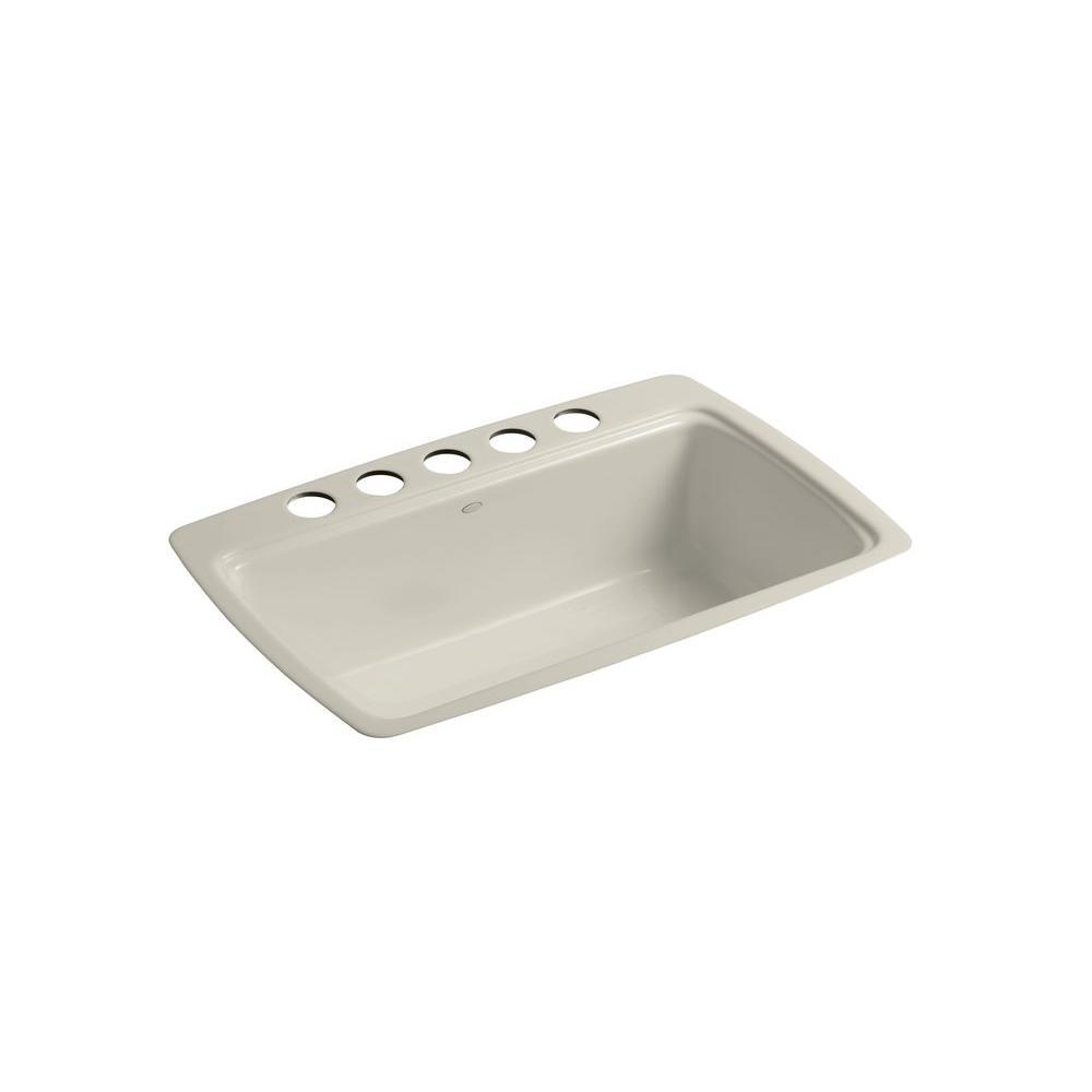 KOHLER Cape Dory Undermount Cast Iron 33 in. 5-Hole Single Basin Kitchen Sink in Sandbar