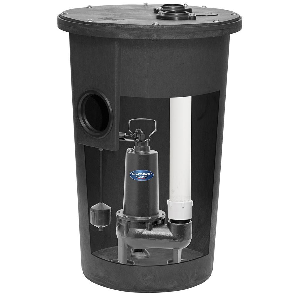 1/2 HP Sewage Pump Kit with Basin