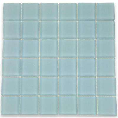 Contempo Blue Gray Frosted Glass 12 In. X 12 In. X 8 Mm Floor
