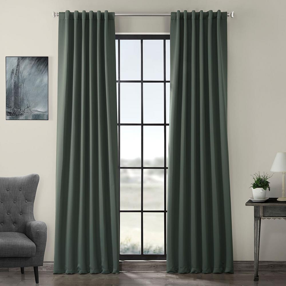 Semi-Opaque Dark Mallard Green Blackout Curtain - 50 in. W x 96 in. L (Panel)