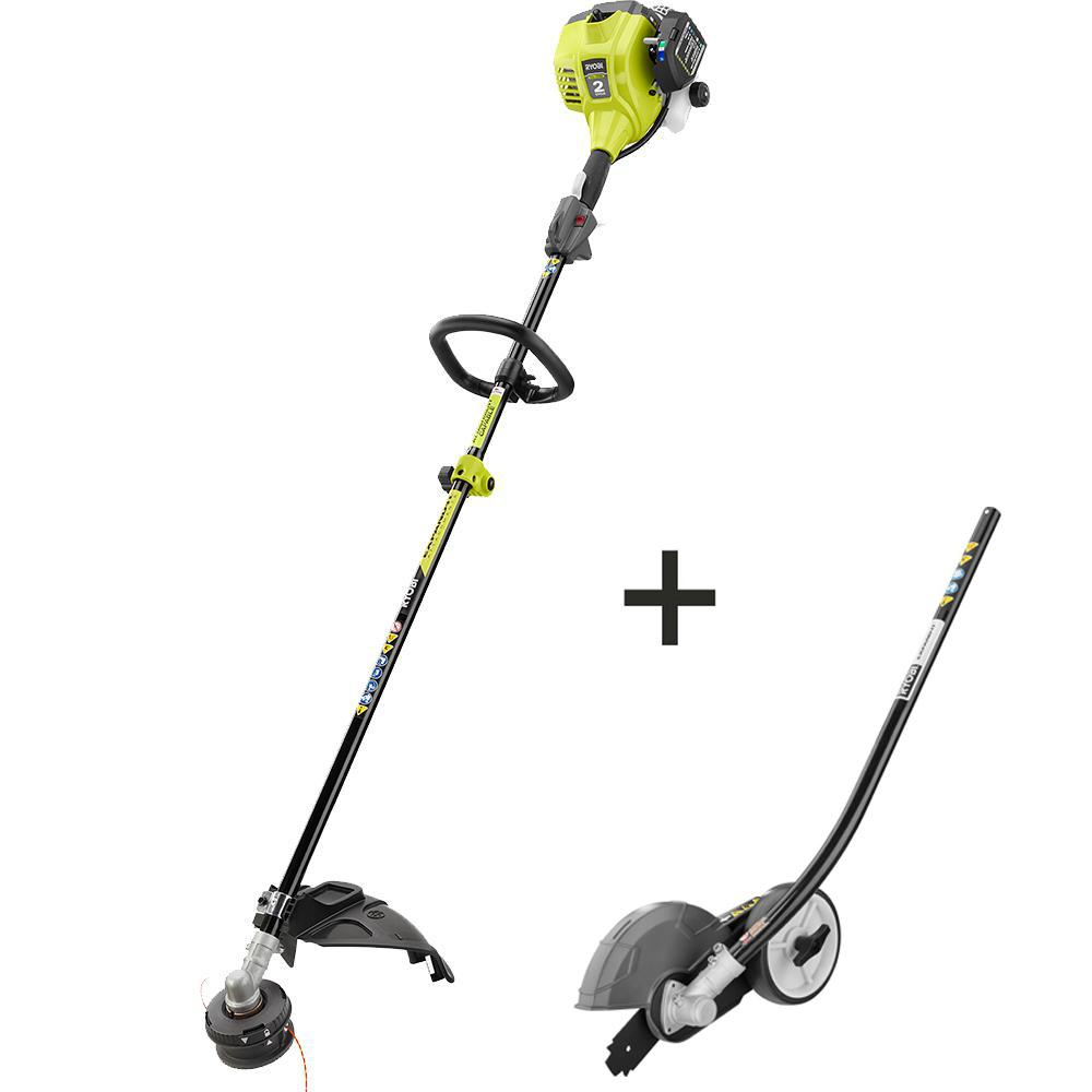 Ryobi 2 Cycle 25cc Gas Full Crank Straight Shaft String Trimmer With Edger Attachment Ry253ss Edg The Home Depot