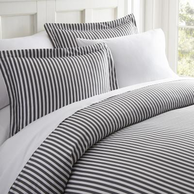 Ribbon Patterned Performance Gray King 3-Piece Duvet Cover Set