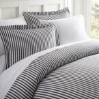 Ribbon Patterned Performance Gray Queen 3-Piece Duvet Cover Set