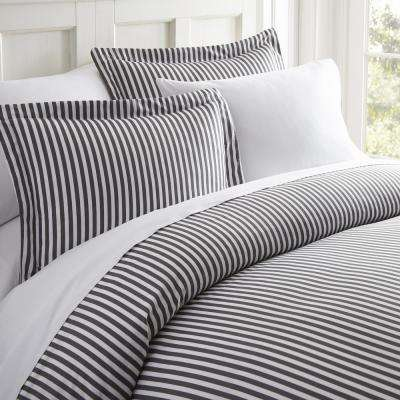 Ribbon Patterned Performance Gray Twin 3-Piece Duvet Cover Set