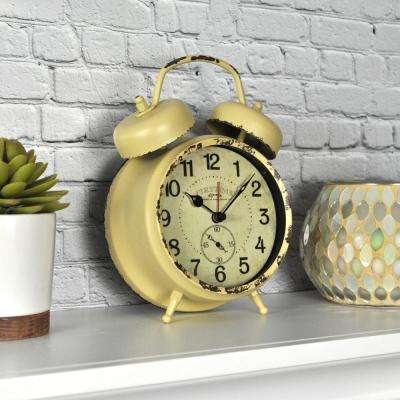 Yellow Double Bell Tabletop Clock