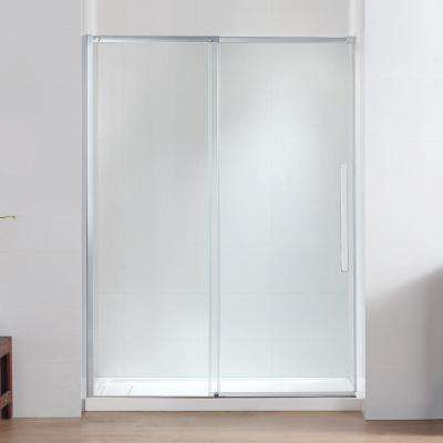 Tidal 60 in. W x 78.74 in. H Semi-Frameless Sliding Shower Door in Chrome