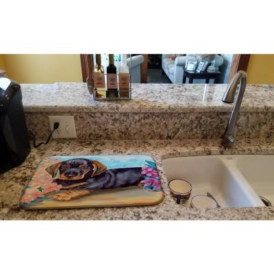 14 in. x 21 in. Multicolor Dachshund Dish Drying Mat