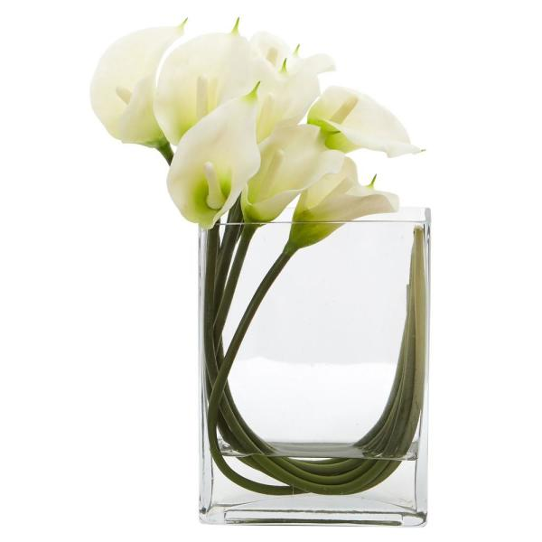 Nearly Natural 12 in. High White Calla Lily in Rectangular Glass Vase Artificial Arrangement