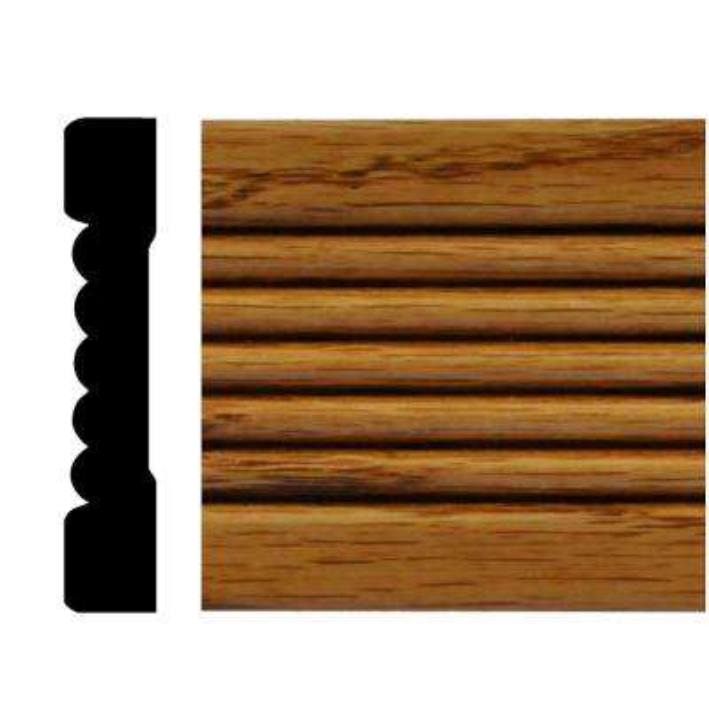 7/16 in. x 2-1/4 in. x 7 ft. Oak Honey Oak Stained Fluted Casing Moulding